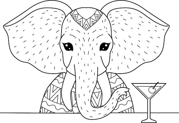 Слон пьет бокал для коктейля на деревьях для раскраски, раскраски. иллюстрация