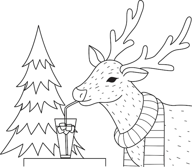 Elephant drinking cocktail glass on the trees for coloring book, coloring page.  illustration