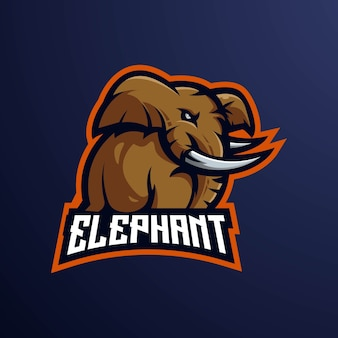 Elephant e-sport mascot logo design illustration