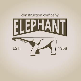 ロゴの象のエンブレム。ビンテージ・スタイル。ベクトルイラスト