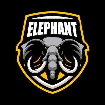 Elephant esport mascot cartoon logo vector template
