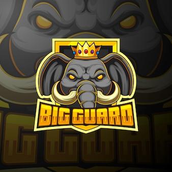 Elephant esport mascot logo design