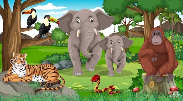 Elephant family with other wild animals in forest scene