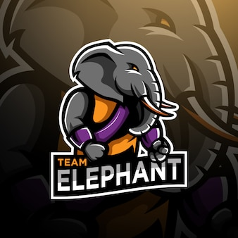 Elephant fighter logo gaming esport template
