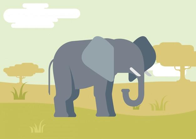 Elephant flat cartoon in savanna