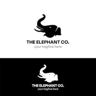 Elephant flat logo vector design template