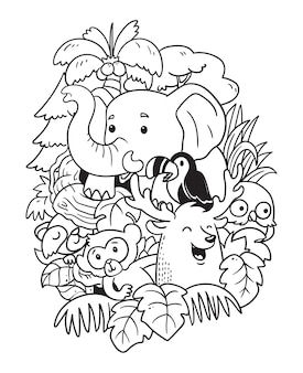 Elephant and friends doodle