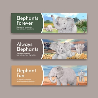 Elephant funning concept,watercolor style banners set Premium Vector