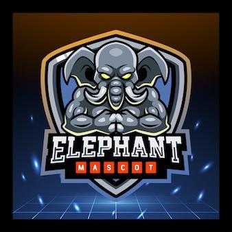 象のゲームマスコットeスポーツロゴデザイン