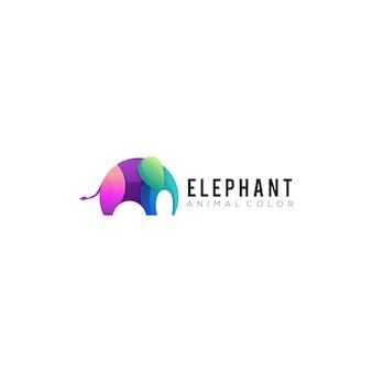 象のグラデーションカラフルなイラストベクトル