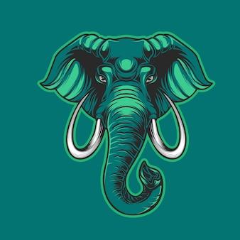 緑に分離された象の緑のマスコット
