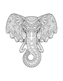 象の頭の着色ページ曼荼羅のデザイン。プリントデザイン。