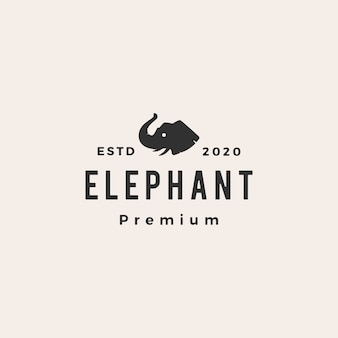 Elephant head hipster vintage logo icon illustration