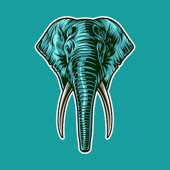 Elephant head  illustration as mascot isolated on color