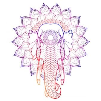 象の頭は、装飾的なロータスフレームに分離されました。アジアの芸術品や工芸品で人気のあるモチーフ。複雑な手描きの白い背景で隔離されました。