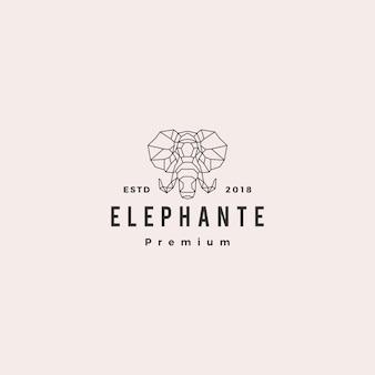 Elephant head logo geometric line vector illustration