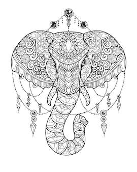 코끼리 머리 만다라 디자인. 색칠 페이지