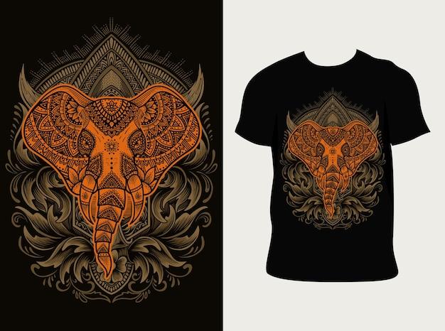 象の頭の曼荼羅のスタイルと彫刻の飾り Premiumベクター