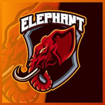 코끼리 머리 마스코트 esport 로고 디자인 일러스트 템플릿, 만화 스타일의 코끼리