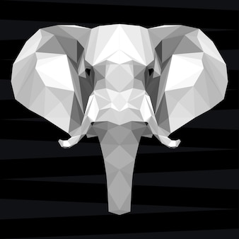 Elephant head. nature and animals life theme background. abstract geometric polygonal triangle elephant pattern for design t-shirt, card, invitation, poster, banner, placard, billboard cover
