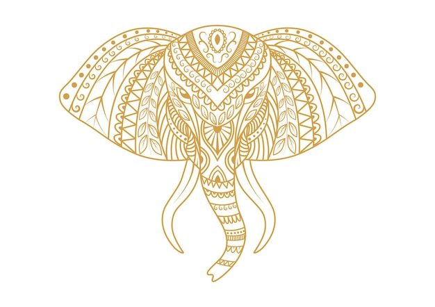 Elephant head ornamental mandala background design vector illustration
