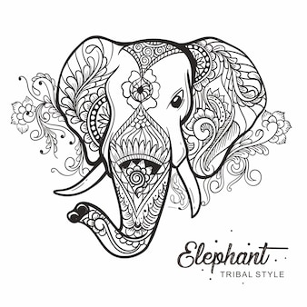 Elephant head tribal style hand drawn