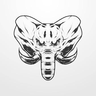 孤立したヴィンテージ、古い古典的なモノクロスタイルの象の頭のベクトル図。 tシャツ、プリント、ロゴ、その他のアパレル製品に適しています