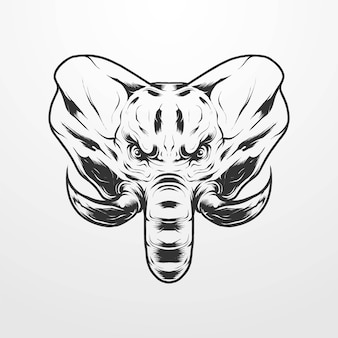 Elephant head vector illustration in isolated vintage, old classic monochrome style. suitable for t-shirts, prints, logos and other apparel products