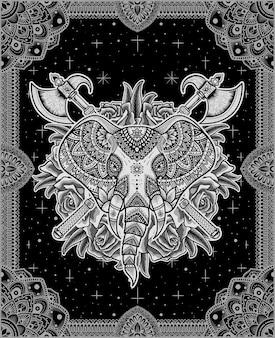バラの曼荼羅のイラストと象の頭