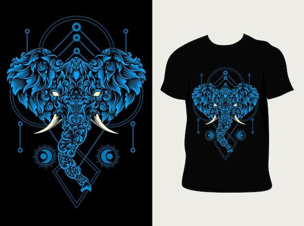 Голова слона с дизайном футболки