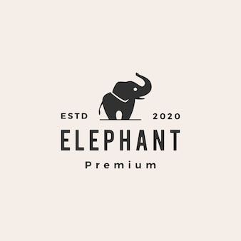 Elephant hipster vintage logo  icon illustration