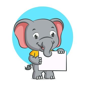 Слон держит в руке чистую доску