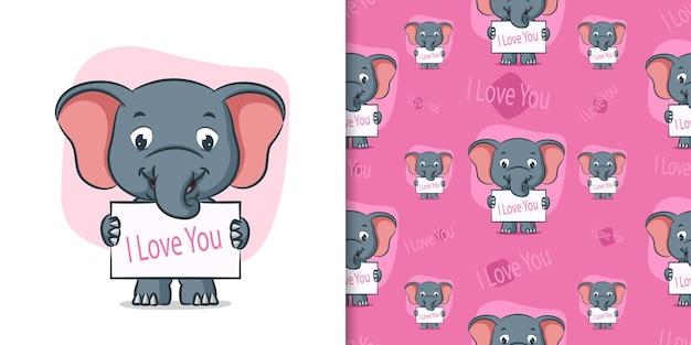 Слон держит доску я люблю тебя в узорной иллюстрации