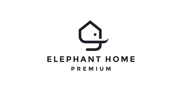 코끼리 집 로고 벡터 아이콘 일러스트 템플릿