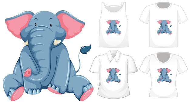 많은 종류의 셔츠와 함께 앉아있는 위치 만화 캐릭터의 코끼리