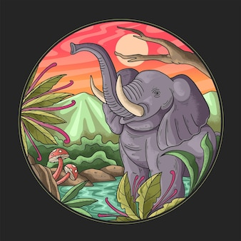 Elephant is bathing in the river illustration