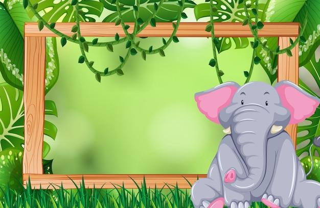 Elephant in jungle frame