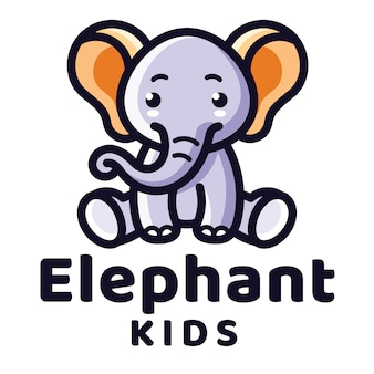 Elephant kids logo template
