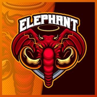 エレファントキングヘッドマスコットeスポーツロゴデザインイラストベクトルテンプレート、チームゲームストリーマーバナーのエレファントクラウンロゴ、フルカラー漫画スタイル