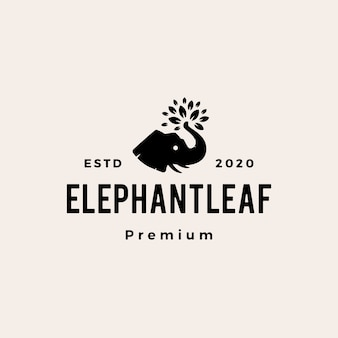 Elephant leaf leaves tree hipster vintage logo  icon illustration