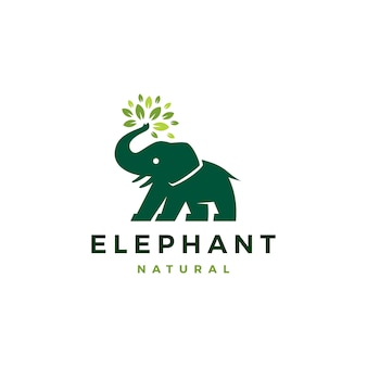 Elephant leaf leaves tree logo icon illustration