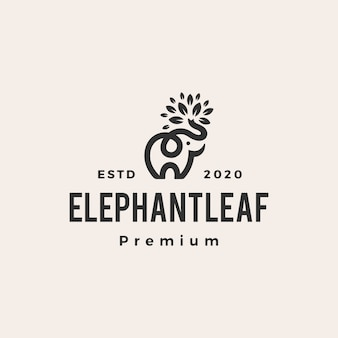 Elephant leaf leaves tree  vintage logo  icon illustration