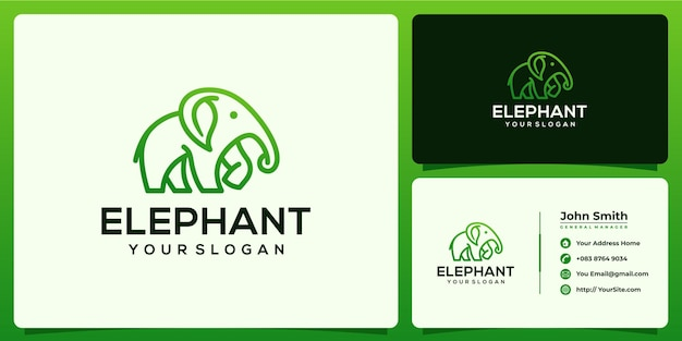 Elephant and leaf logo combination with business card template