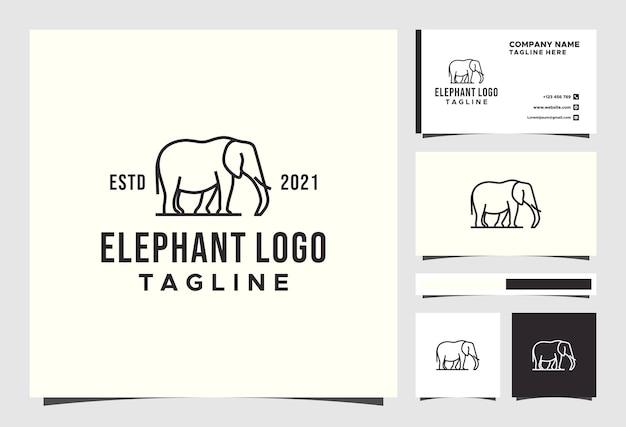 Elephant line logo design animal premium vector