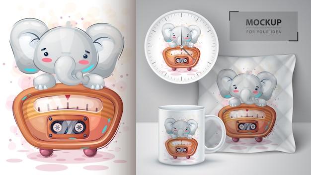 Elephant listen music poster and merchandising