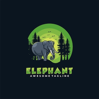 象のロゴデザインベクトルフラットカラー