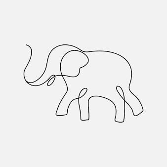Elemento del logo dell'elefante, vettore dell'illustrazione degli animali di arte di linea