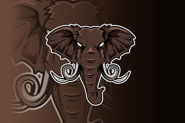 Elephant logo for sport club or team. animal mascot logotype.