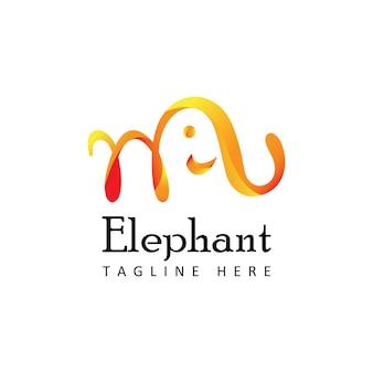 격리 된 흰색 배경으로 코끼리 로고 템플릿 디자인 벡터
