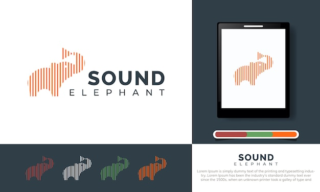 Elephant logo template for music app